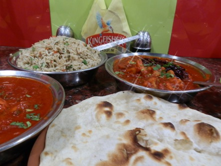 From left: Chicken Kolhapuri, Mushroom rice, Vegetable Kolhapuri, nan