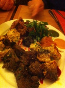 Mixed starter of Chicken Tikka, Lamb Tikka, BeetrootCutlet and Mackrel